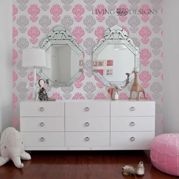 Plantilla decorativa stencil para el dise o de interiores - Papel para habitaciones juveniles ...