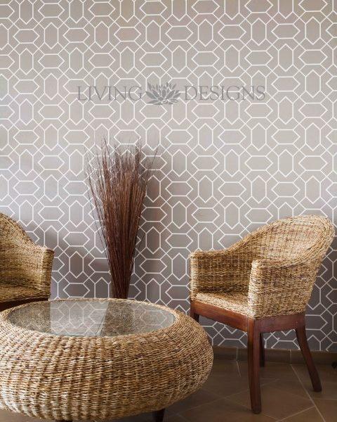 Plantilla decorativa de gran formato stencil para el - Papel tapiz para paredes ...