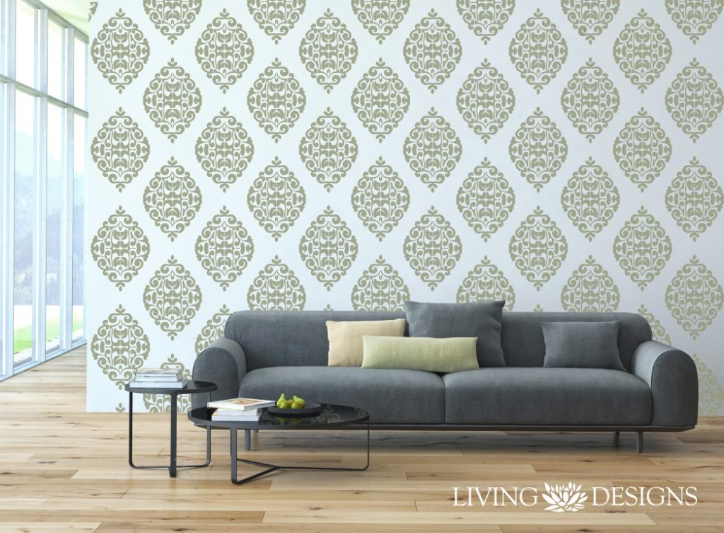 Plantilla decorativa stencil para el dise o de interiores y pintar paredes como papel tapiz y - Plantillas pared ...