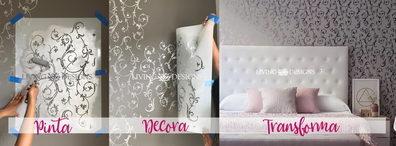 Plantillas decorativas stencils para pintar y decorar paredes con efecto papel tapiz - Papel de pared para pintar ...